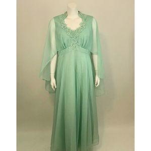Vintage Chiffon Empire Waist Dress Cape Sleeves